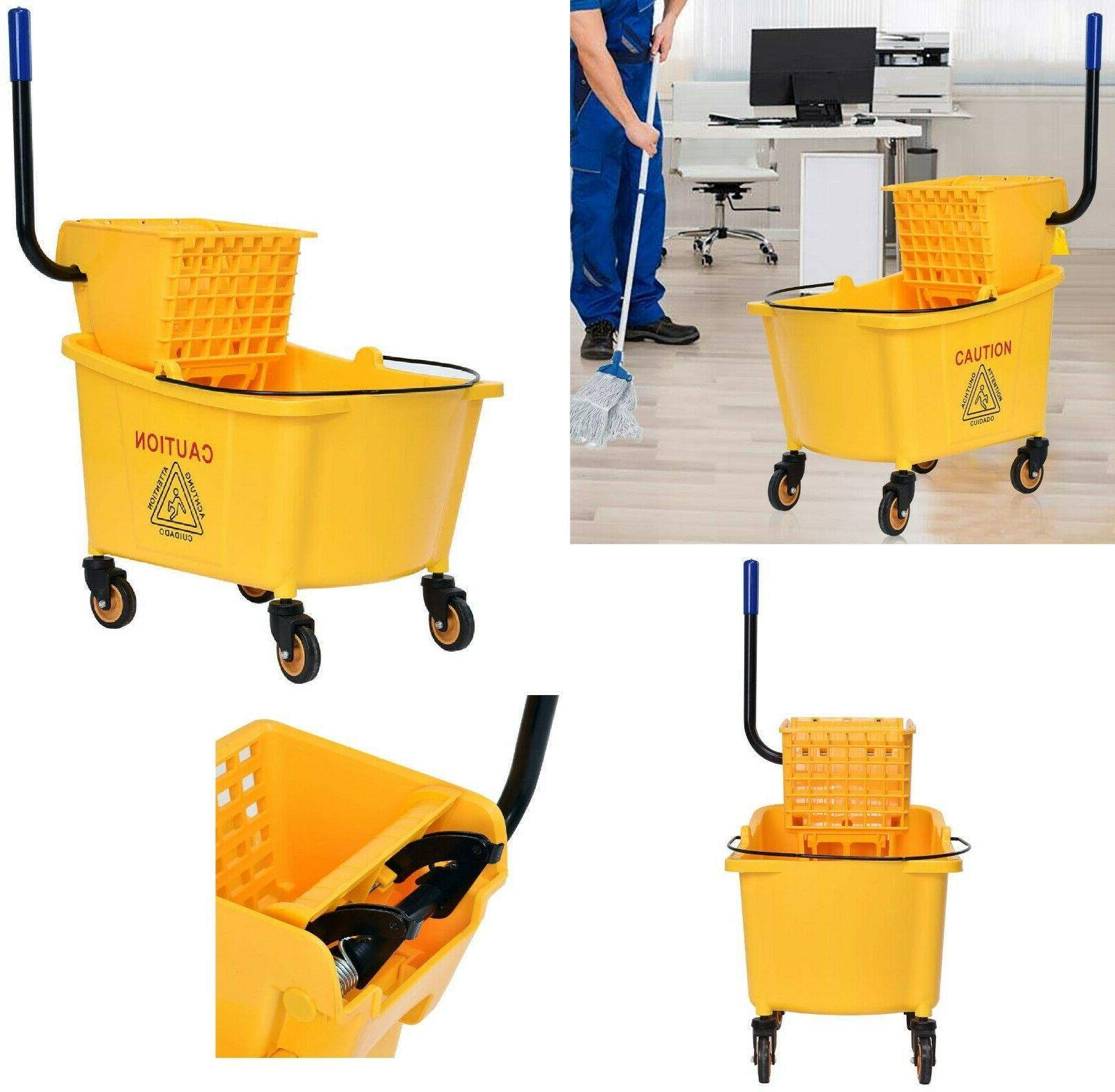 commercial wringer mop bucket rolling cleaning cart