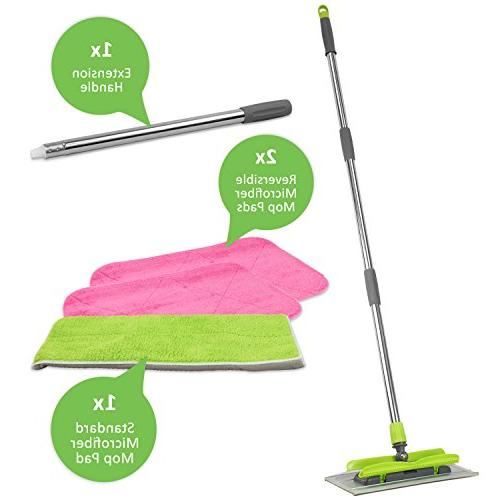 LINKYO Microfiber Mop - 3 Reusable Flat Mop Extension Included, or Dry