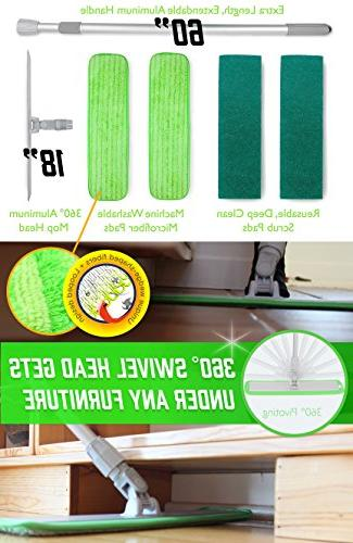 Microfiber Floor Cleaning Washable Perfect for & Tile - 360 Dust Mops Refill Pads & Handle for Garage