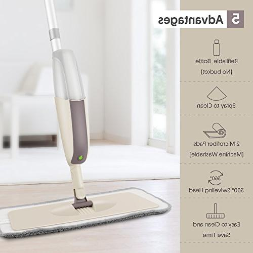 SEVENMAX Spray Floor Cleaning, Floor with Bottle and Pads, Flat Mop Kitchen Laminate Ceramic Tiles Floor