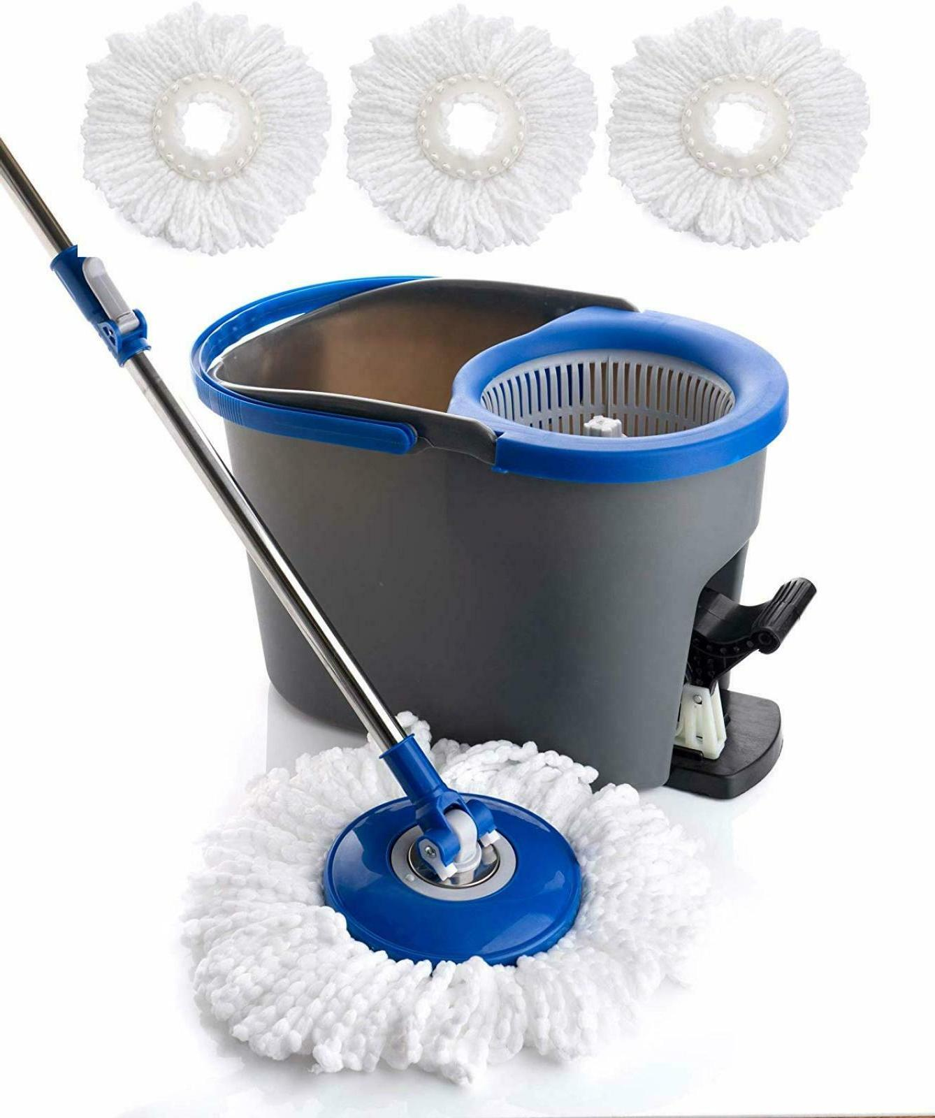 Rolling Spin Mop Cleaning Floor Home System with 3 Microfibe
