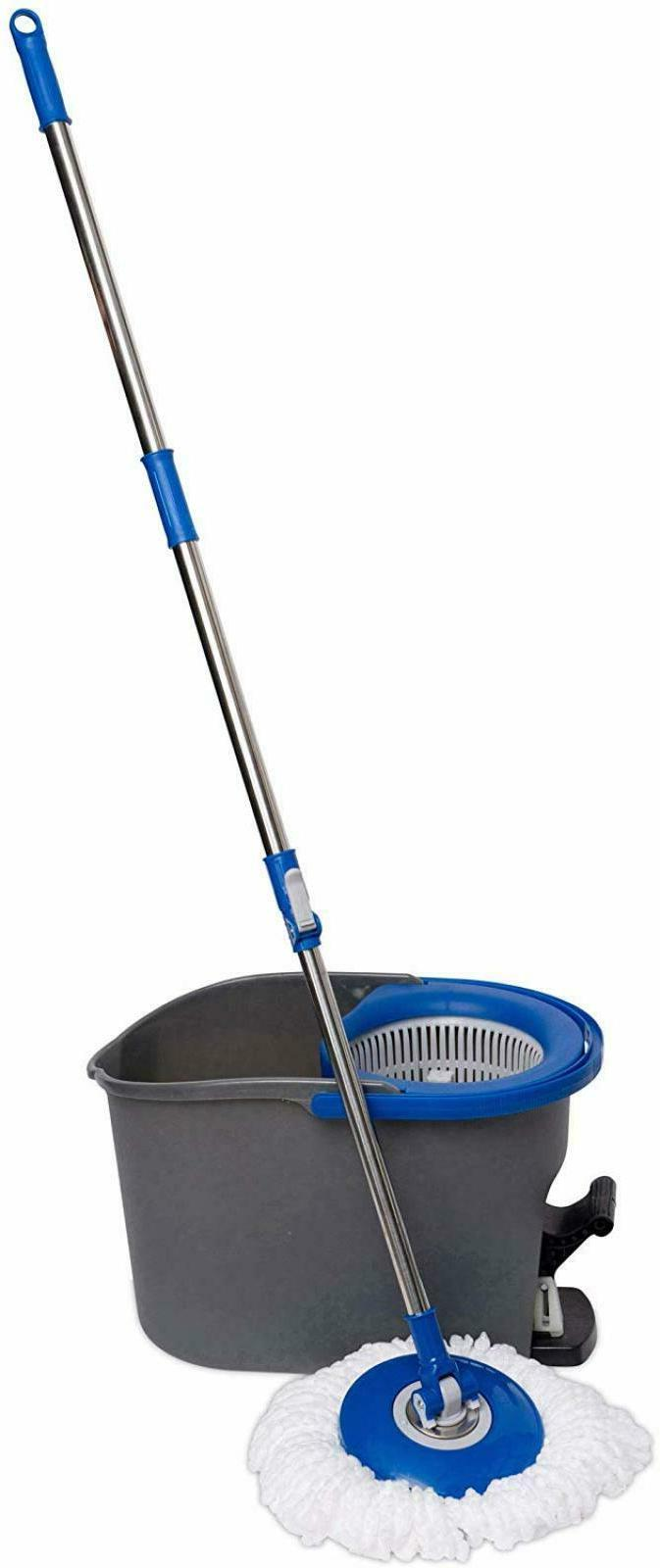 Rolling Spin Floor Home System 3 Microfiber Mop Bucket