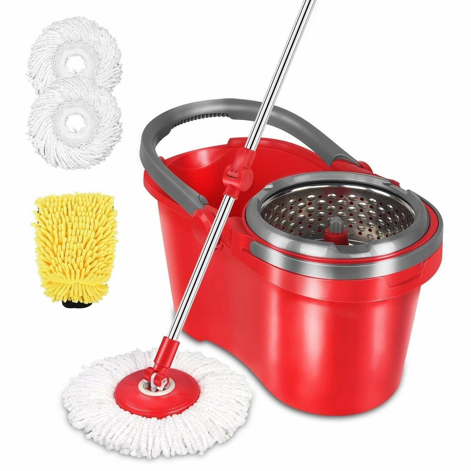 spin mop bucket set wringer floor cleaning