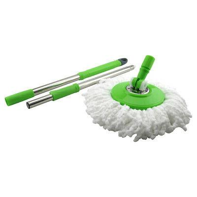 Stainless Steel Spin 2 Microfiber Mop Heads, Green