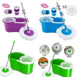 Magic 360°Floor Mop Bucket Rotating Head Easy Spinning + 2