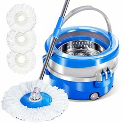 Magic Spin Mop and Bucket Set w/ 3 Replacement Microfiber He