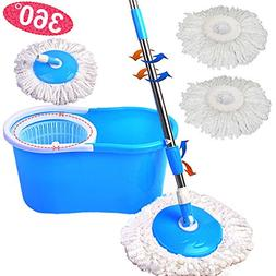 Super buy Magic Spin Mop Microfiber Spining W/Bucket 2 Heads