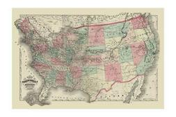 """""""Map of The United States Territories 1872"""" Print"""