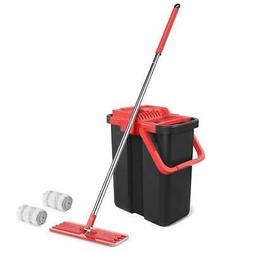 Microfiber Mop and Bucket System for Floor Cleaning with 3 W