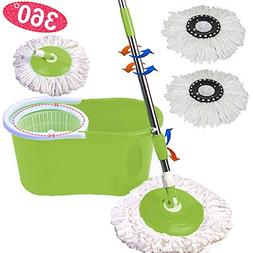Microfiber Spining Magic Spin Mop W/Bucket 2 Heads Rotating