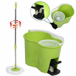 Microfiber Spinning Mop Easy Floor Mop W/Bucket 2 Heads 360