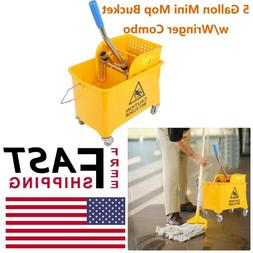 Mini Mop Bucket w/Wringer Combo 5 Gallon Commercial Rolling