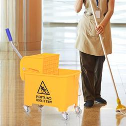 Mini Press Mop Bucket with Wringer 5 Gallon/20 Quart Rolling