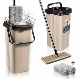 Mop and Bucket System w/ 2 Squeegee Mop Pads Easy Self Wring