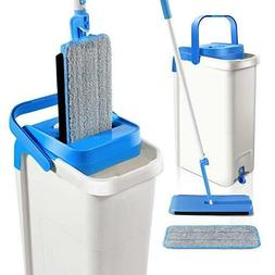 Mop and Bucket System with 2 Mop Pads Self Cleaning Flat Squ