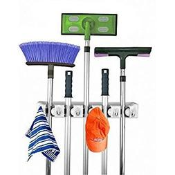 Housweety Mop and Broom Holder, 5 position with 6 hooks gara