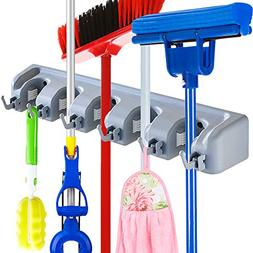 JOSHNESE Mop Broom Holder, Broom Hanger with 5 Positions and