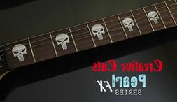 Punisher Skull MOP Fretboard Marker Vinyl Inlay Stickers for
