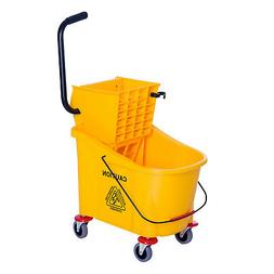 Rolling Mini Side Press Mop Bucket with Wringer 9.5 Gallons