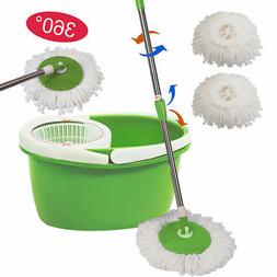 360° Rotating Head Easy Magic Floor Mop Bucket 2 Head Micro
