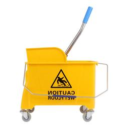 Rubber Wavebrake Bucket Wringer Mop Bucket Yellow Commercial