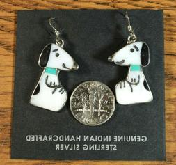 Snoopy Dog EARRINGS inlay MOP Turquoise Zuni Artist Shenel C