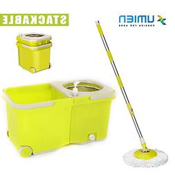 Umien Spin Mop and Bucket System – 360° Self Wringing Spi