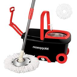 Moppson Spin Mop Bucket System Stainless Steel 360 Spin Mop