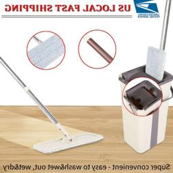 Squeeze Dry Flat Mop Bucket Kits Practical Home Clean Hands-