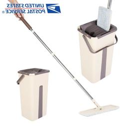 Squeeze Spray Mop Flat Free Hand Wringing Bucket Microfibre