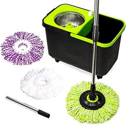 Stainless Steel Spin Mop with Soap Dispenser Microfiber Mop