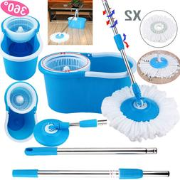 Upgraded Deluxe 360° Spin Mop Bucket Rod Set household Floo