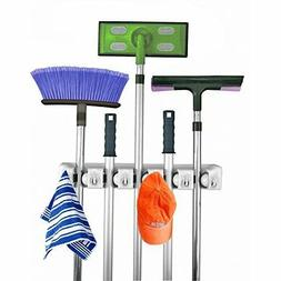 Wall Mount Mop and Broom Holder, 5 position with 6 hooks gar