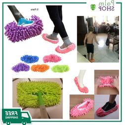 5 Pairs/10 pcs Washable Dust Mop Slippers Shoes Cover Soft W