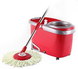 Arevo Whirlwind Wet Spin Mop and Rolling Bucket for Floor Cl