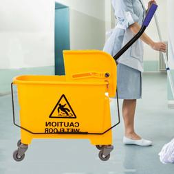 Yellow Commercial 20L Wet Mop Bucket & Removable Wringer Com
